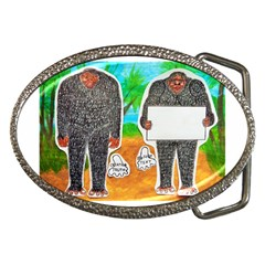 2 Yowie H,text & Furry In Outback, Belt Buckle (Oval)