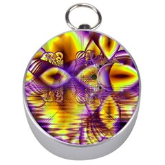 Golden Violet Crystal Palace, Abstract Cosmic Explosion Silver Compass