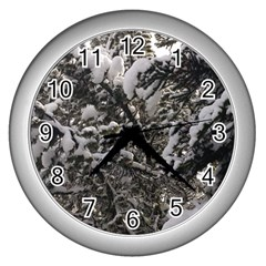 Snowy Trees Wall Clock (silver)