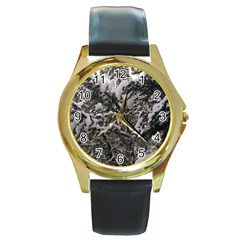 Snowy Trees Round Leather Watch (gold Rim)