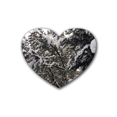 Snowy Trees Drink Coasters 4 Pack (Heart)