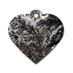 Snowy Trees Dog Tag Heart (Two Sided)