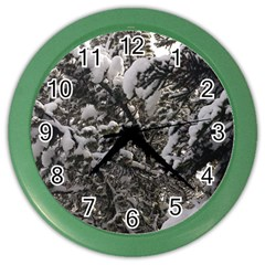 Snowy Trees Wall Clock (Color)