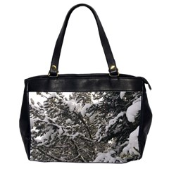 Snowy Trees Oversize Office Handbag (two Sides)
