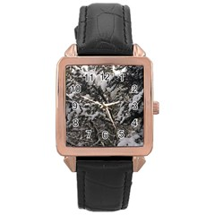 Snowy Trees Rose Gold Leather Watch