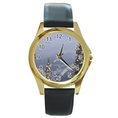 Trees Round Leather Watch (Gold Rim)