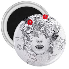 Flower Child 3  Button Magnet