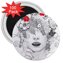Flower Child 3  Button Magnet (100 pack)
