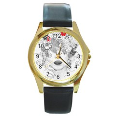 Flower Child Round Leather Watch (Gold Rim)