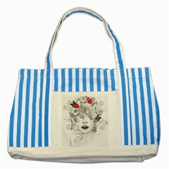 Flower Child Blue Striped Tote Bag