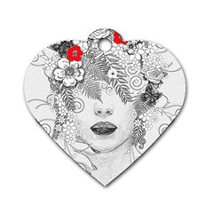 Flower Child Dog Tag Heart (one Sided)