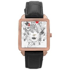 Flower Child Rose Gold Leather Watch