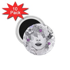 Flower Child Of Hope 1.75  Button Magnet (10 pack)