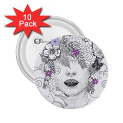 Flower Child Of Hope 2 25  Button (10 Pack)