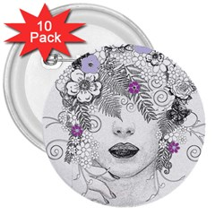 Flower Child Of Hope 3  Button (10 pack)