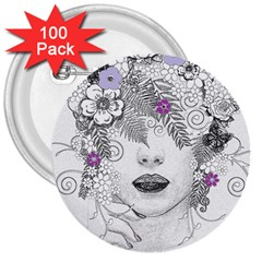 Flower Child Of Hope 3  Button (100 Pack)