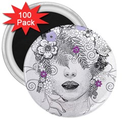 Flower Child Of Hope 3  Button Magnet (100 pack)