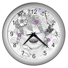 Flower Child Of Hope Wall Clock (silver)