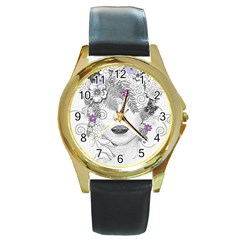 Flower Child Of Hope Round Leather Watch (Gold Rim)