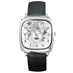 Flower Child Of Hope Square Leather Watch