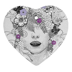 Flower Child Of Hope Heart Ornament (Two Sides)