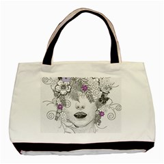 Flower Child Of Hope Twin-sided Black Tote Bag