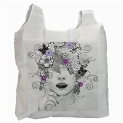 Flower Child Of Hope White Reusable Bag (one Side)