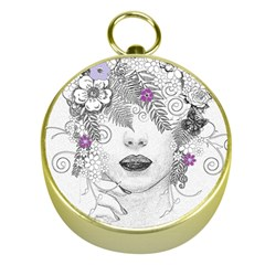 Flower Child Of Hope Gold Compass