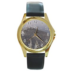Mountains Round Leather Watch (Gold Rim)
