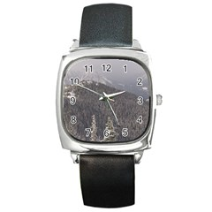 Mountains Square Leather Watch