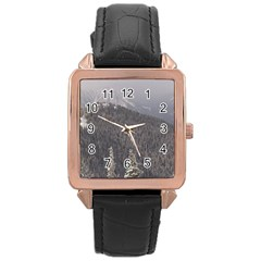 Mountains Rose Gold Leather Watch