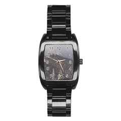 Mountains Stainless Steel Barrel Watch