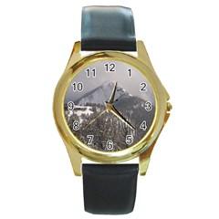 Gondola Round Leather Watch (gold Rim)