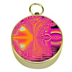 Magenta Boardwalk Carnival, Abstract Ocean Shimmer Gold Compass
