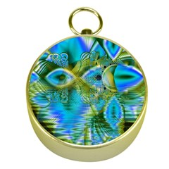 Mystical Spring, Abstract Crystal Renewal Gold Compass