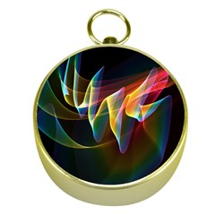 Northern Lights, Abstract Rainbow Aurora Gold Compass