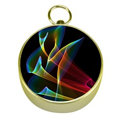 Peacock Symphony, Abstract Rainbow Music Gold Compass