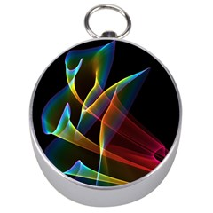 Peacock Symphony, Abstract Rainbow Music Silver Compass