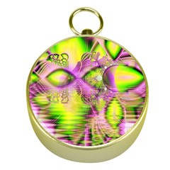 Raspberry Lime Mystical Magical Lake, Abstract  Gold Compass