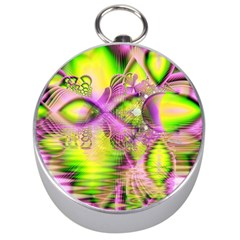 Raspberry Lime Mystical Magical Lake, Abstract  Silver Compass