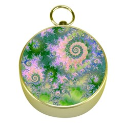 Rose Apple Green Dreams, Abstract Water Garden Gold Compass