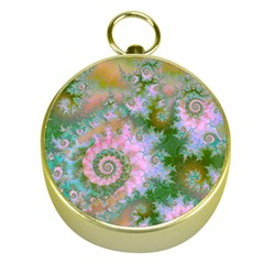 Rose Forest Green, Abstract Swirl Dance Gold Compass