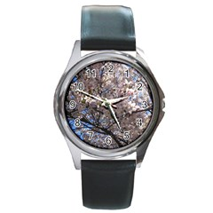 Sakura Tree Round Leather Watch (Silver Rim)