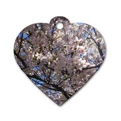 Sakura Tree Dog Tag Heart (two Sided)