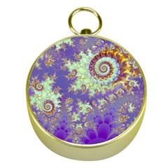 Sea Shell Spiral, Abstract Violet Cyan Stars Gold Compass