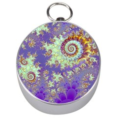 Sea Shell Spiral, Abstract Violet Cyan Stars Silver Compass