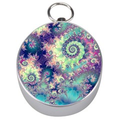 Violet Teal Sea Shells, Abstract Underwater Forest (purple Sea Horse, Abstract Ocean Waves  Silver Compass