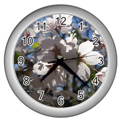 Cherry Blossoms Wall Clock (silver)