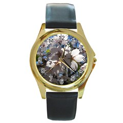 Cherry Blossoms Round Leather Watch (gold Rim)
