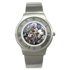 Cherry Blossoms Stainless Steel Watch (Slim)